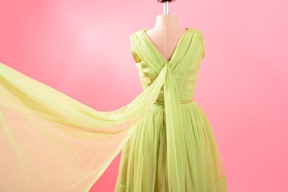 1950's Lime Green Chiffon Dress - image 8