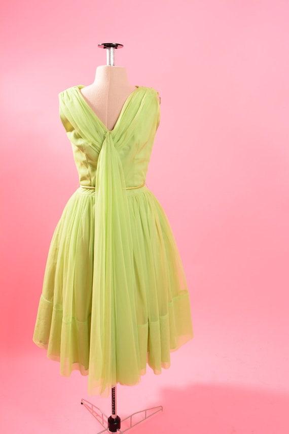 1950's Lime Green Chiffon Dress - image 7