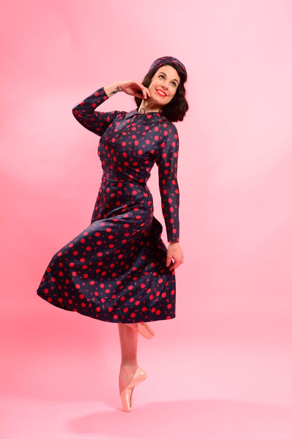 1940's Silk Polka Dot Dress with Bustle and Matchi