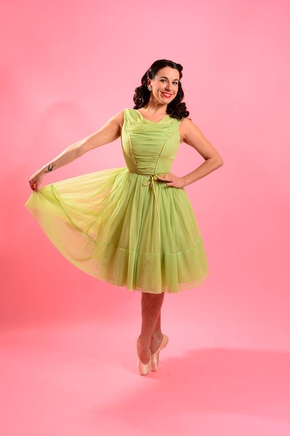 1950's Lime Green Chiffon Dress - image 2