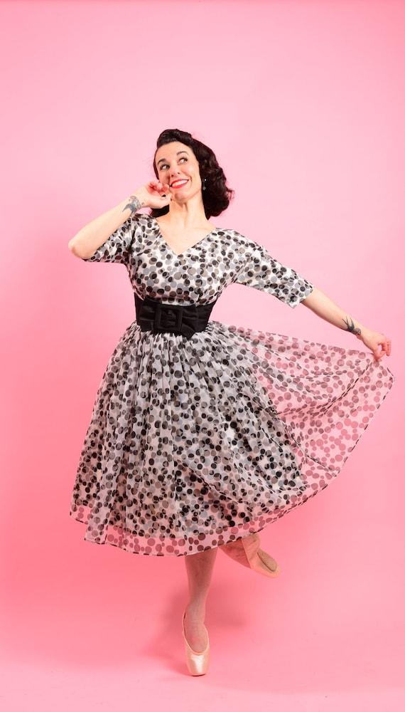 1950's 3D Black & White Polka Dot dress • 50s prom