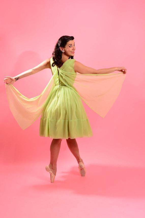 1950's Lime Green Chiffon Dress - image 4