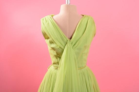 1950's Lime Green Chiffon Dress - image 9
