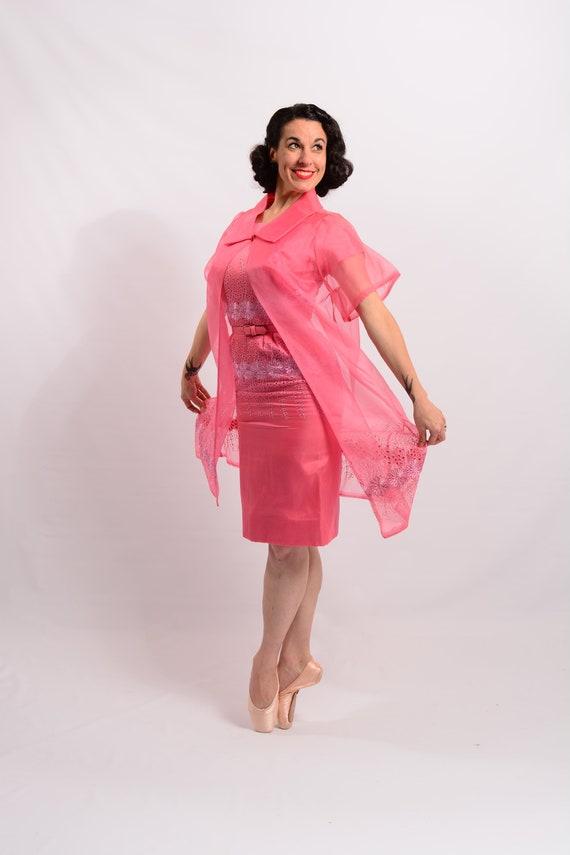 1950's coral pink chiffon dress with matching shee