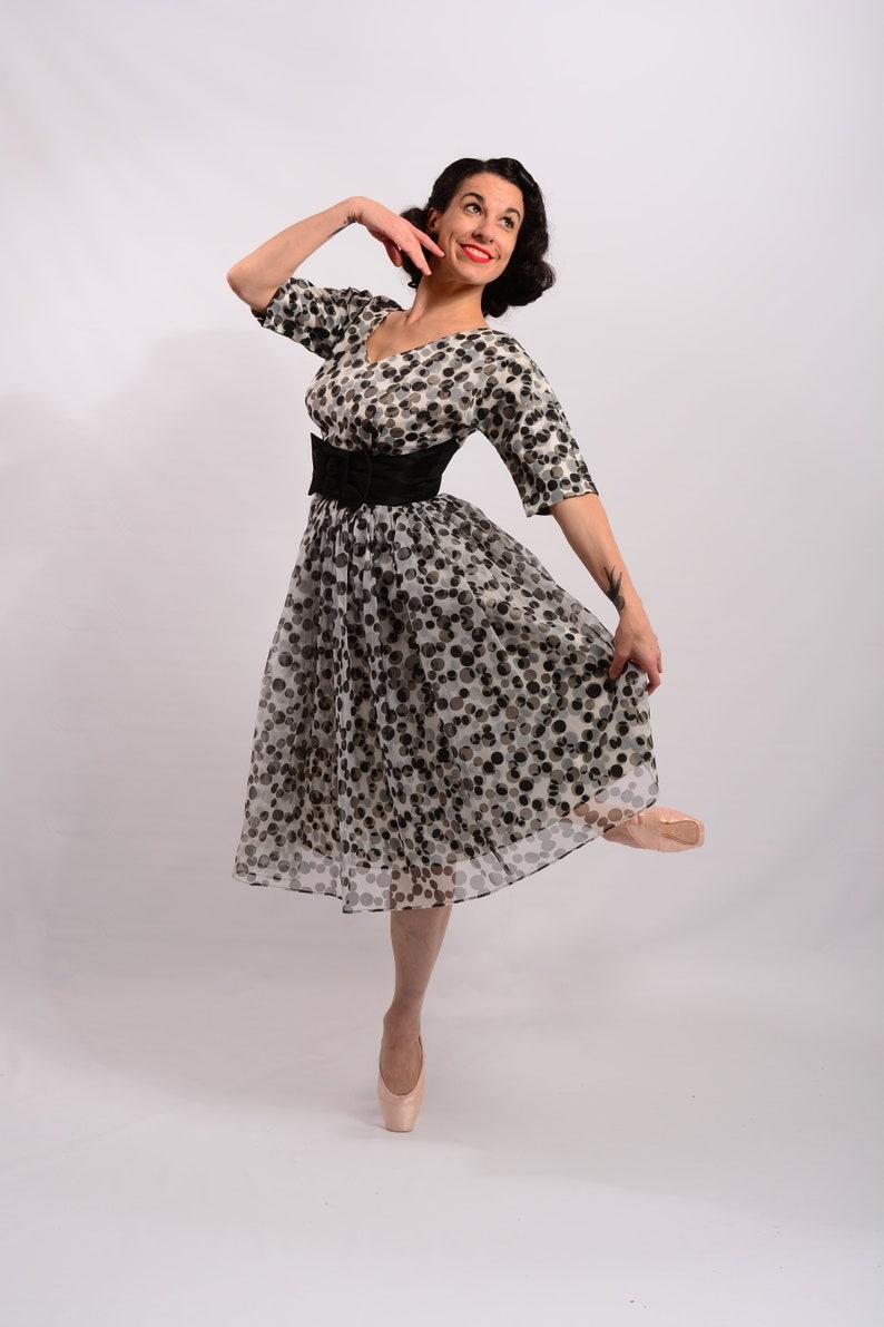69a50d81a2b 1950s 3D Black   White Polka Dot dress 50s prom dress