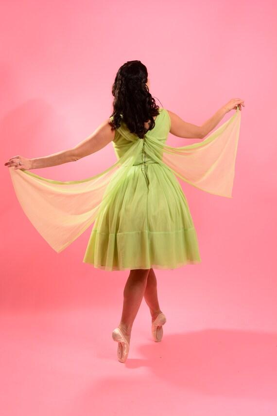 1950's Lime Green Chiffon Dress - image 3