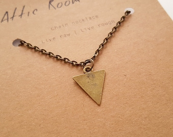 Gold Triangle Necklace, Minimalist Jewelry for Men, Necklace for Men, Friendship Necklace, Triangle Jewelry, Gift for Men, Chevron Necklace