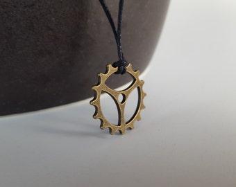 Clock Gear Tie Cord Necklace, Steampunk Jewelry, Boyfriend Gift, Minimalist Jewelry for Men, Industrial Jewelry, Mens Necklace, Gift for Men