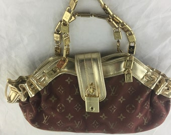 8356293e6c3c LV designer inspired hand made handbag gold locks logo louis vuitton canvas  faux leather