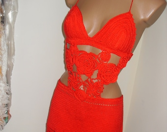 Small red dress, crochet with flowers 3D