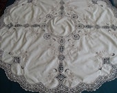 Antique tablecloth, very fine workmanship with crocheted lace and embroidery u size 90 cm 35 quot