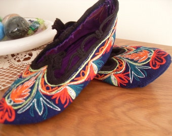 Bulgarian embroidered wool slippers for home use.