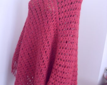 Wool poncho, raspberry red, crochet,one size