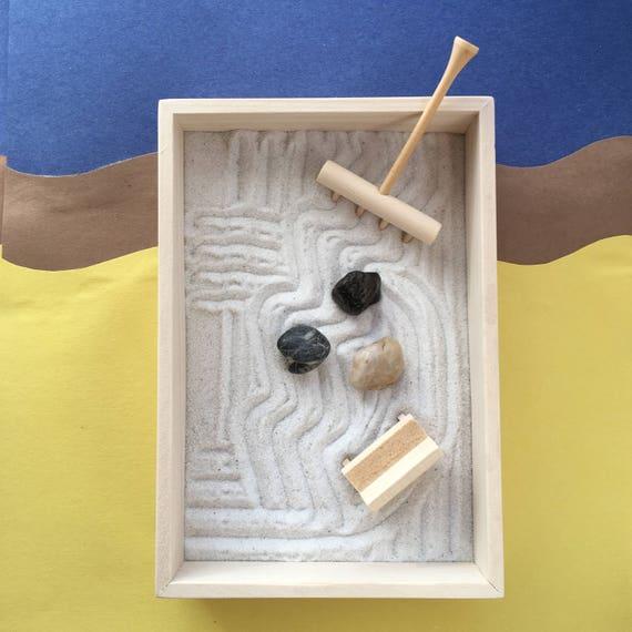 Desktop Zen Garden With Simple Wooden Box Rake And Rocks Mini   Etsy