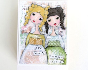 two girls friendship card, two heart's together always quote - by Toni Burt - sister card, best friend card, birthday, daughter, twins