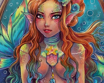 "Fantasy MERMAID Art PRINT/Bookmark ""Nemesis"" various size. Young sexy pretty beautiful mermaid art portrait. Bright colors by Sakuems"