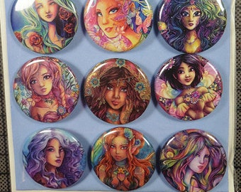 BUTTONS Set Fantasy, Romantic and cute women artwork buttons, beautiful woman art flowers, angels, fairies colorful badges by Sakuems