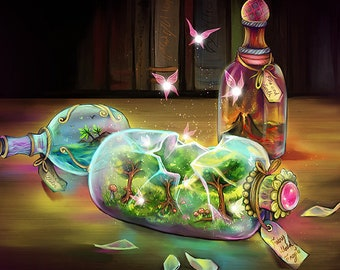Fine ART Photo PRINT fantasy fairy world bottle art colorful scenery by sakuems