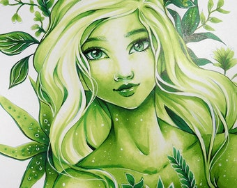 """Fantasy ART PRINT, Young fairy Art Copic Marker fantasy character Green """"Tefi"""" beautiful woman portrait leaves and nature by Sakuems"""