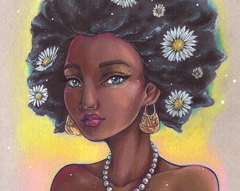 Art PRINT Photo Janelle - Beautiful dark skin character model pearls daisies colorful portrait by sakuems
