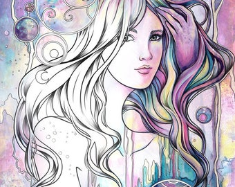 """A4 8,5x12"""" Fantasy adult COLORING book beautiful characters 20 designs pretty women, flowers, fairies, angels, princesses by Sakuems"""