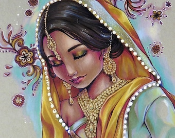 Art PRINT Photo Ravija - Beautiful Hindi Indian portrait woman saari yellow pink, flowers, baroque background by sakuems