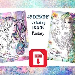 Pdf Digital Fantasy Coloring Book Advanced Adult Colouring Etsy