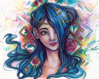 ART PRINT Diamonds queen blue hair beautiful woman portrait fantasy romantic art by sakuems