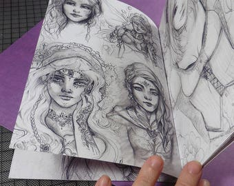 36 pages SKETCHBOOK Fantasy Art Prints sketches collection 2015 - 2017 toned art, black and white art, beautiful women art by sakuems