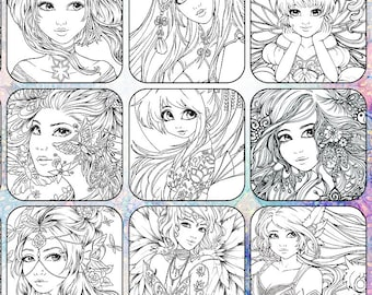 PDF DIGITAL Fantasy Coloring book advanced adult colouring book 20 designs beautiful woman, fairies, angels, coloring pages by sakuems