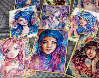 ACEOS Cards collection Fantasy art nouveau beautiful woman flowers, mermaids, angels, pretty girls by Sakuems