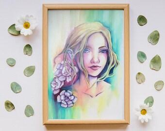 """12x8"""" ORIGINAL PAINTING 20x30cm """"Soft portrait"""" OIL paints art nouveau woman art flower colorful spring beautiful portrait by Sakuems"""