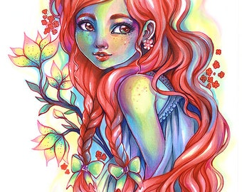 Fantasy ART print colorful portrait red hair beautiful woman flowers spring natural copic marker by Sakuems