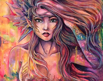 """PRINT fantasy art woman portrait """"Crystal Warrior"""" in various size. Young sexy beautiful amazone woman art portrait  by Sakuems"""