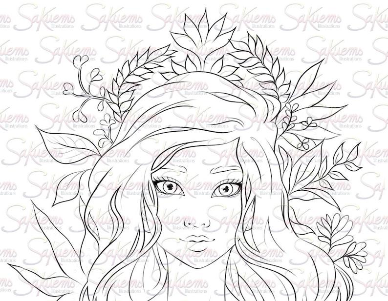 Numerique Timbre Ligne Art Coloriage Belle Fantaisie Femme Nature Inspiree Par Portrait Mere Terre Plante Fleurs Sakuems