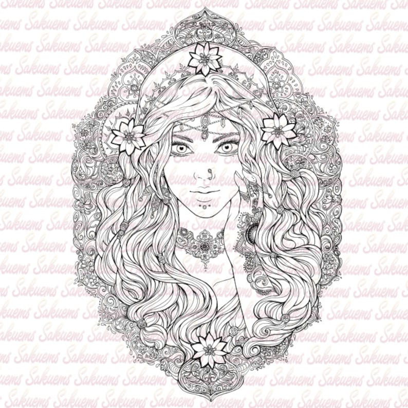 DIGITAL STAMP Beautiful gypsy portrait  Esmeralda / Indian / Arabic  pattern, flowers, baroque design  cardmaking adult coloring by sakuems