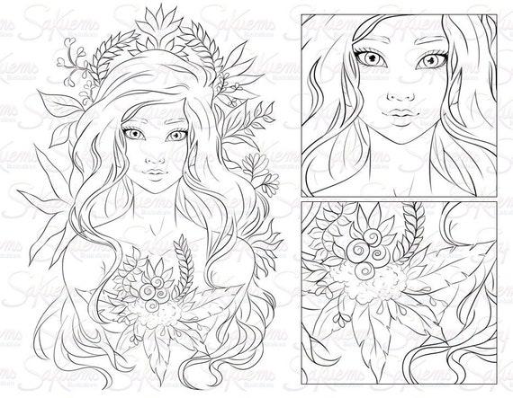 Digital Stamp Line Art Coloring Page Beautiful Fantasy Nature