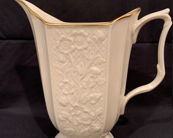 Gold decorated Green Mark circa 1930s Lenox 86 8 inches Green Mark DIMPLE PITCHER