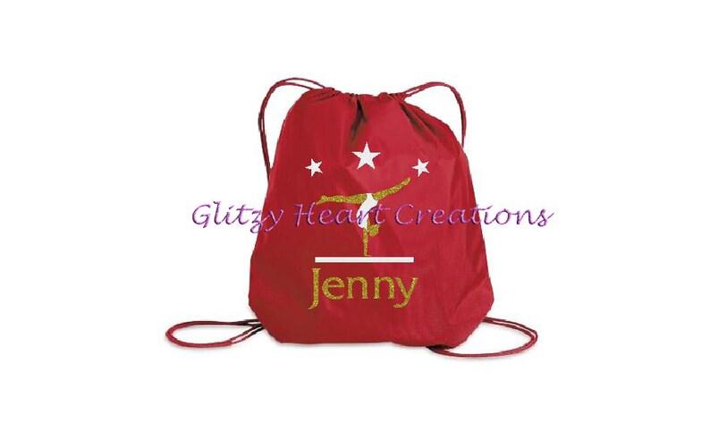 Drawstring Bag Cinch Bag kids glitter bag Gymnastics Bag Personalized Girls Gymnast Bag Gymnast on beam Gym Bag girls beach bag,