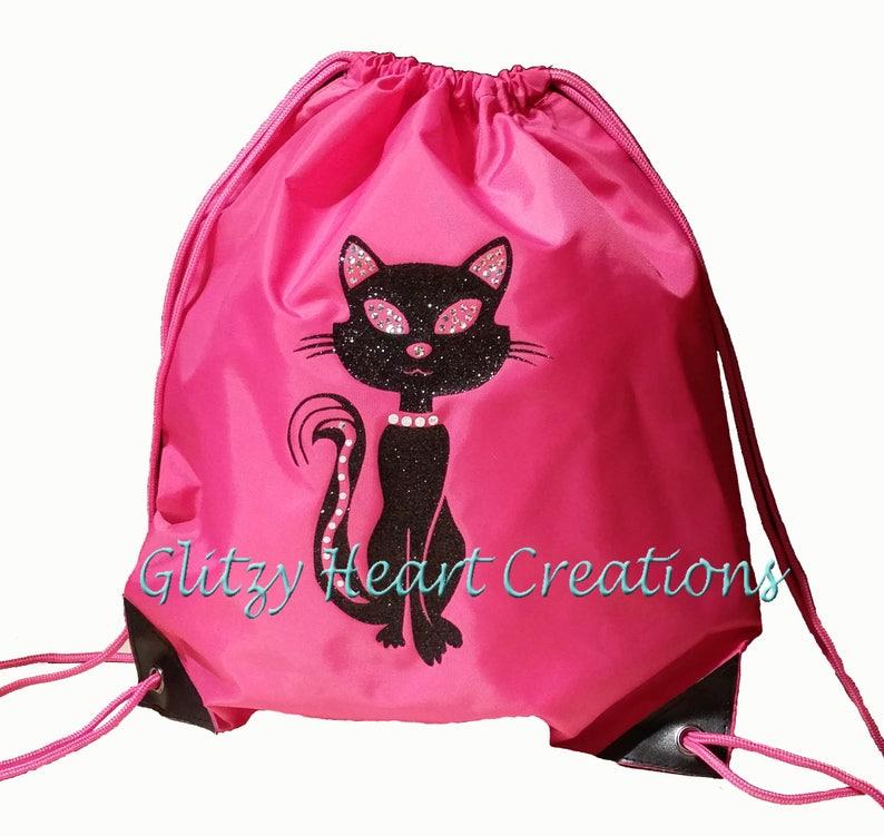 Cinch Bag glitter bag Girls Bag Sitting cat design Drawstring Bag Glitter cat bag Cat bag Kids Bag beach bag Personalized Cat Bag