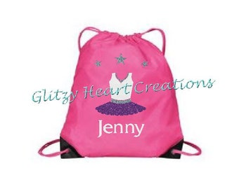 Personalized Girls Dance Bag, Dancer Bag, Girls Bag, Cinch Bag, Drawstring Bag with Dancer design, Glitter Ballet Bag, Kids Beach bag,