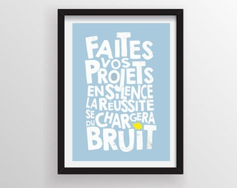Inspirational Quotes, French funny quotes, Motivational quotes, Typography print,