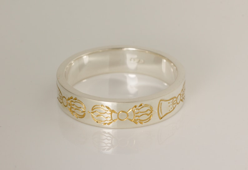 Vajra chain ring gold plate silver