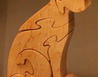 Sitting Cat Oak Puzzle