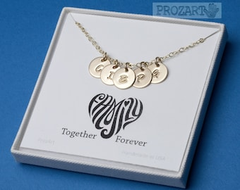 Personalized initial necklace,monogram tag,hand stamped monogram,family initial,sisterhood gift,friendship necklace,mother's day,custom font