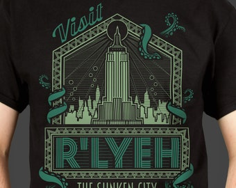 R'lyeh - The Sunken City - H.P. Lovecraft's Call of Cthulhu inspired Men's horror themed t-shirt, screen printed by hand - geek gift