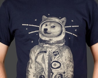 Doge in Space - Shiba Inu the Astronaut - funny & cute dog lover's Men's wow such t-shirt much science, screen printed by hand - geek gift