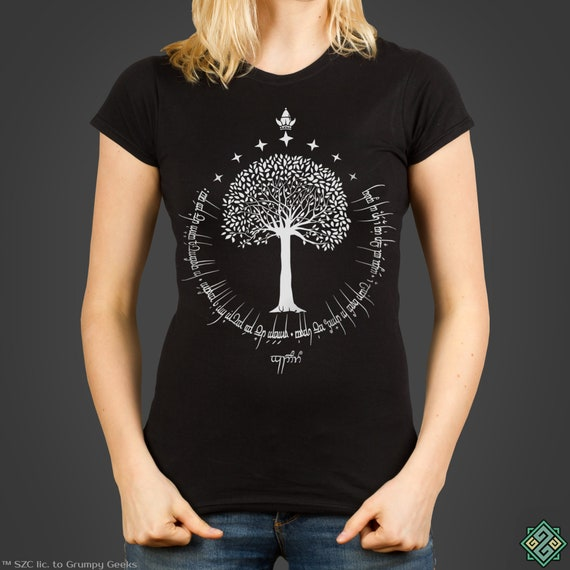 White Tree Of Gondor™   J.R.R. Tolkien's The Lord Of The Rings Inspired Ladies T Shirt, Screen Printed By Hand by Etsy