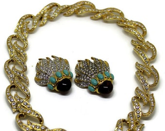 Vintage 1993 Elizabeth Taylor for Avon Eternal Flame Necklace and Earring Collection Elizabeth Taylor Jewelry Gift For Her Bridal Jewelry