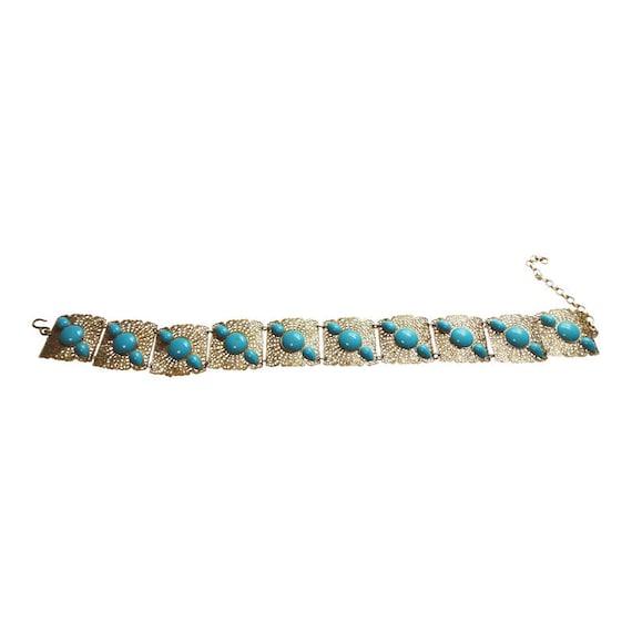 Gold Filigree Link Belt With Turquoise Trim Vintag